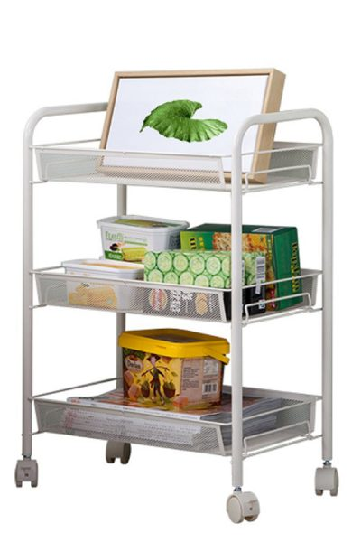 """SIZE:17.32""""x10.23""""x24.41""""; Weight: 5.11lbs Color:white Quality carbon steel-Durable and Sturdy; Waterproof & eco-friendly silver outer varnish naturally matches most colors and design schemes, while protecting the unit from any water, rust or corrosion,Sturdy honeycomb meshes protect little things from falling off; 4 solid wheels (2 with brake) for mobility。Easy to assemble and disassemble; Detachable hook, perfect for teacups, handbags, keys, towels, etc"""
